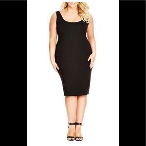 Plus size black bodycon dress.